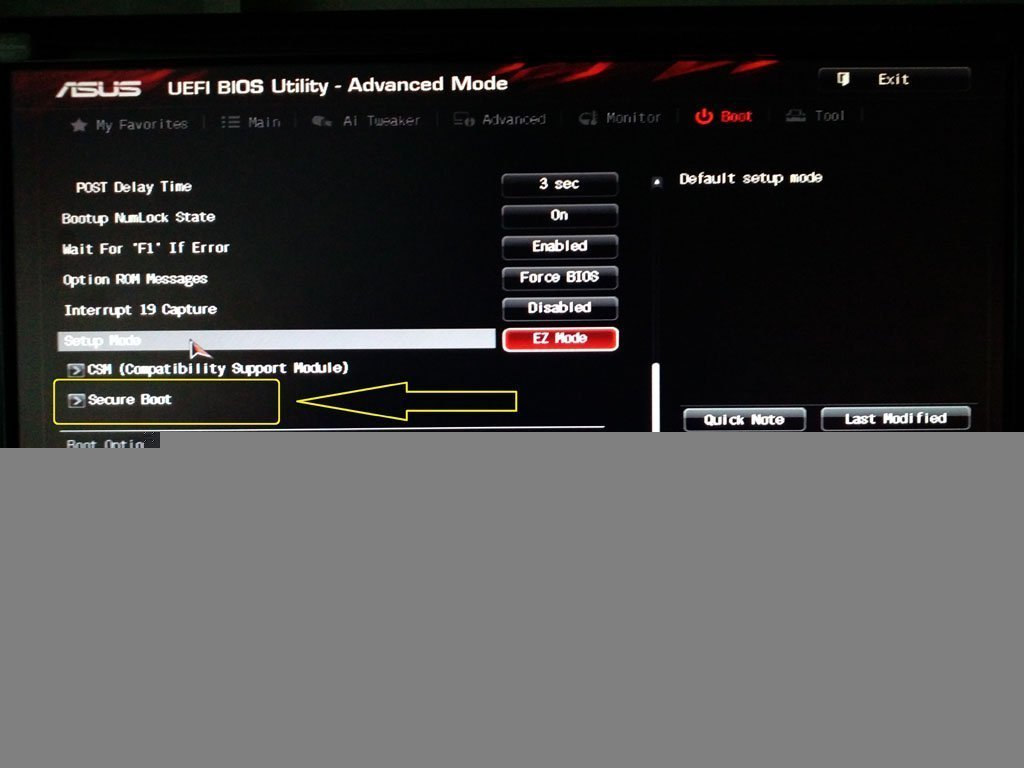 "find ""Secure Boot"" option in BIOS"