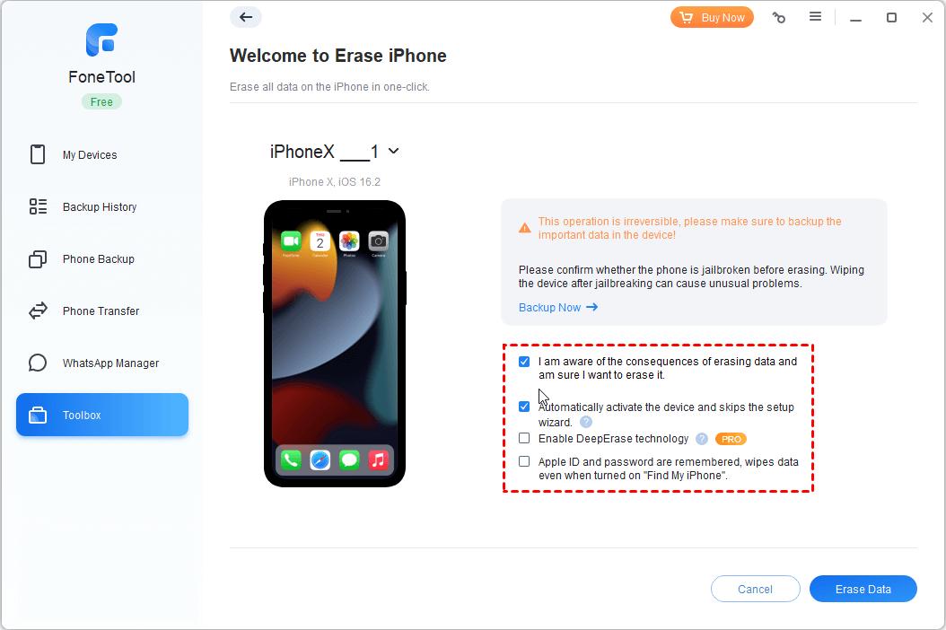 Erase Options