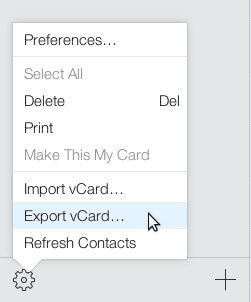 Choose Export vCard