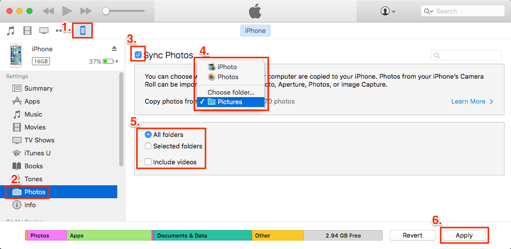 transfer photos from PC to iPhone 8 with iTunes