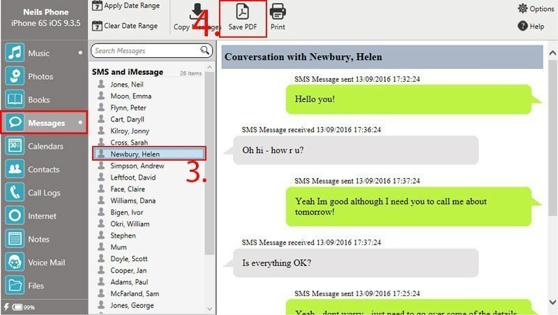 Touch Copy export Messages PDF