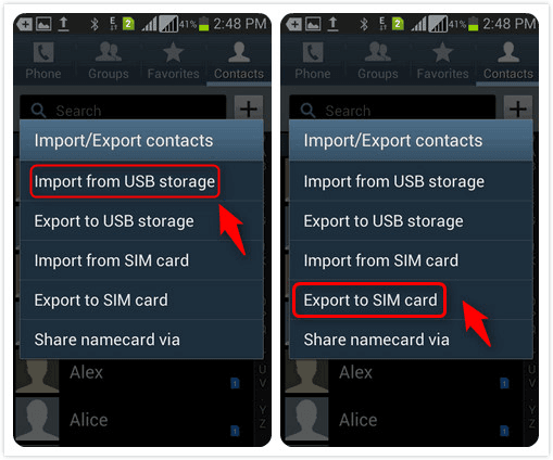 Export Contacts to SIM Card
