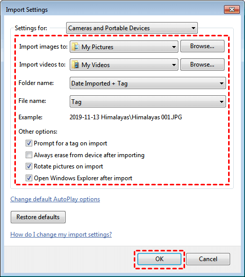 Set up Settings for Cameras