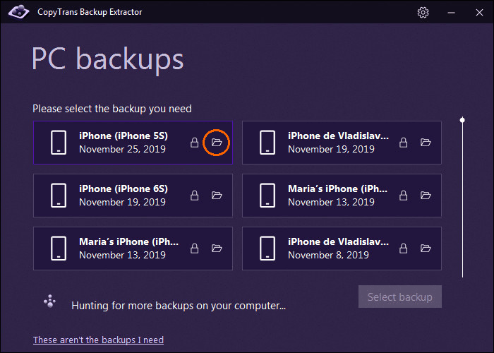 Show iPhone Backup in Folder