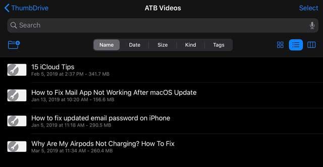 Files App List of Videos