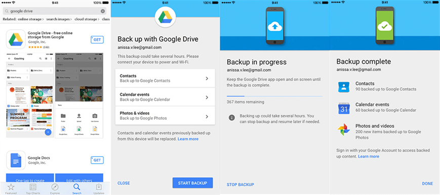 Backup iPhone Contacts to Google Drive