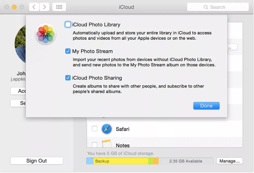iCloud photo library mac