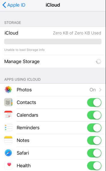 No iCloud Storage Info
