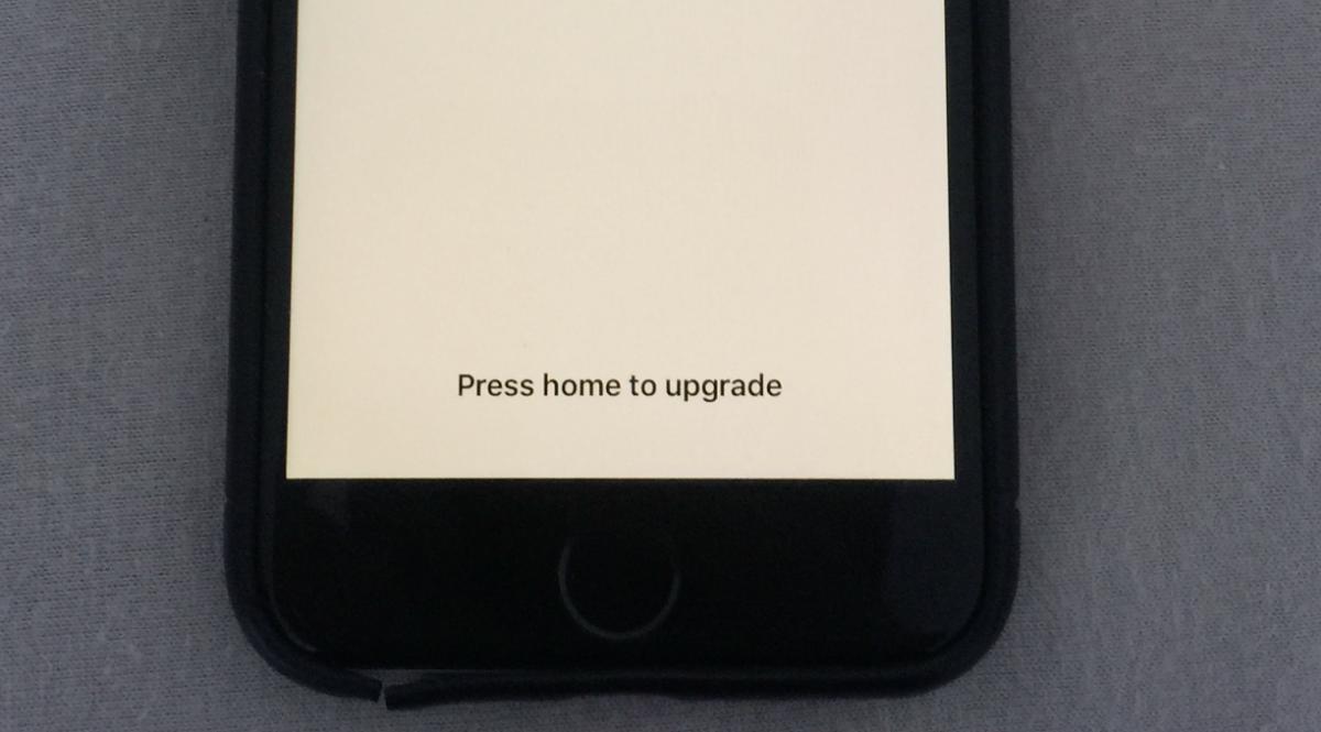 Press Home to Upgrade Stuck