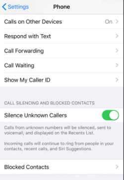 iPhone Blocked Contacts