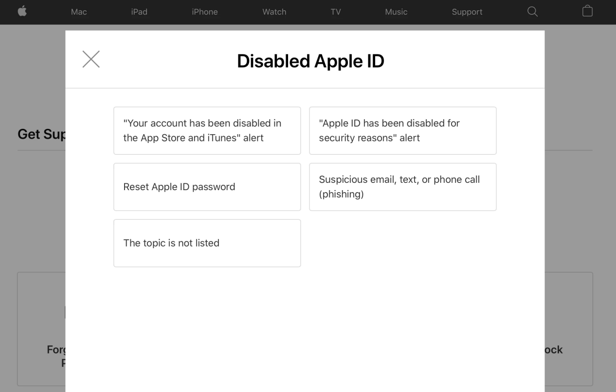 Disabled Apple Id Apple Support