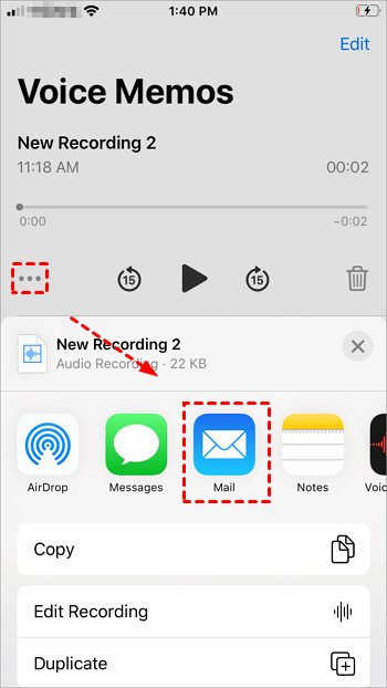 Share Voice Memos With Mail