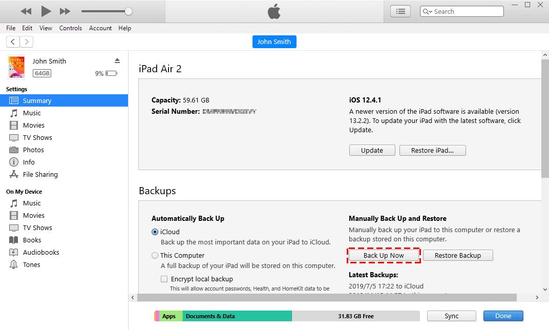 Back up iPad iTunes