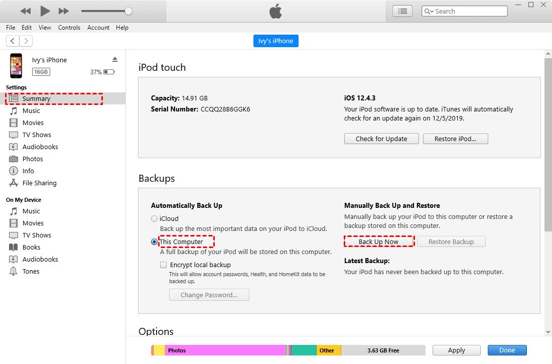 Backup Using iTunes