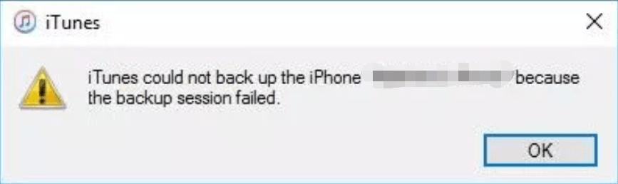 iTunes Backup Session Failed