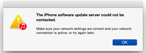 iPhone Software Update Server Can Not Be Contacted