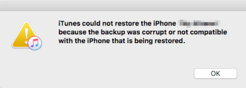 iTunes Backup Not Compatible