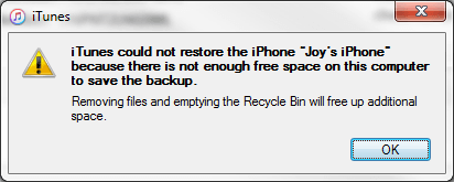 iTunes Cannot Restore iPhone Not Enough Space On Computer