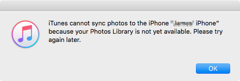 iTunes Cannot Sync Photos To iPhone