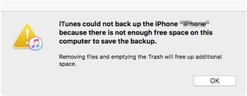 iTunes No Enough Storage