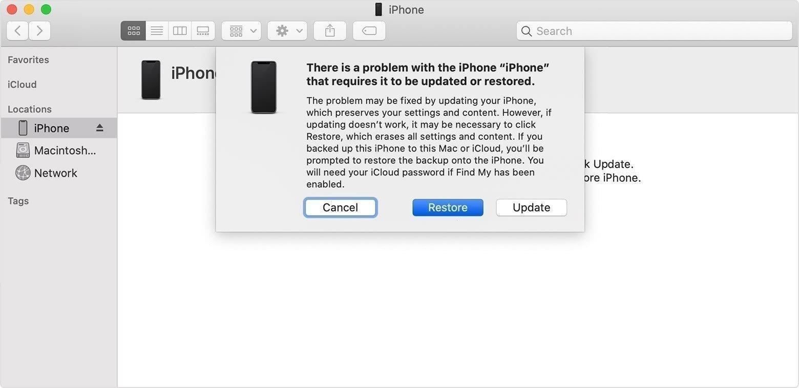 iTunes Repair iPhone Recover Mode