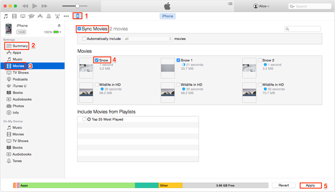 iTunes Sync Videos