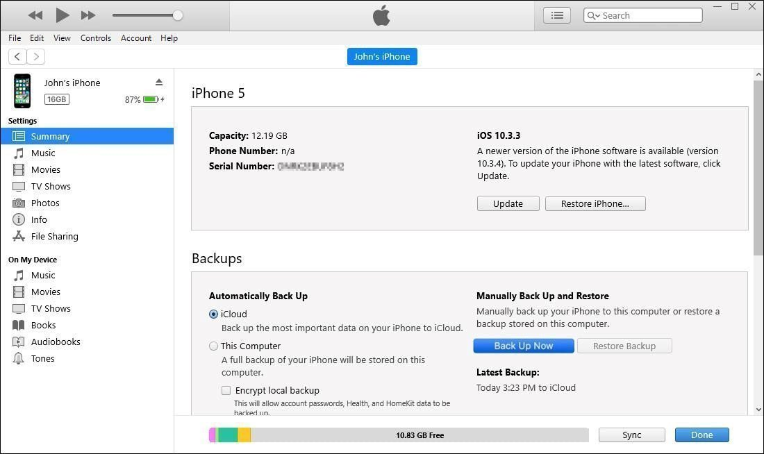 iPhone iTunes Backup
