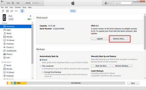 Erase iPod with iTunes