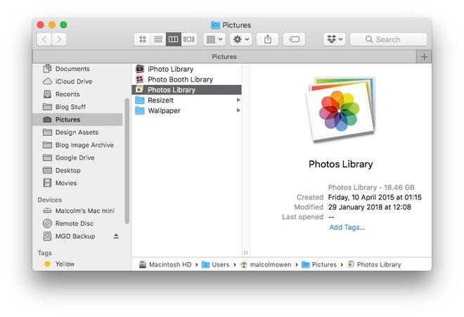 Find Photos Library Finder Mac