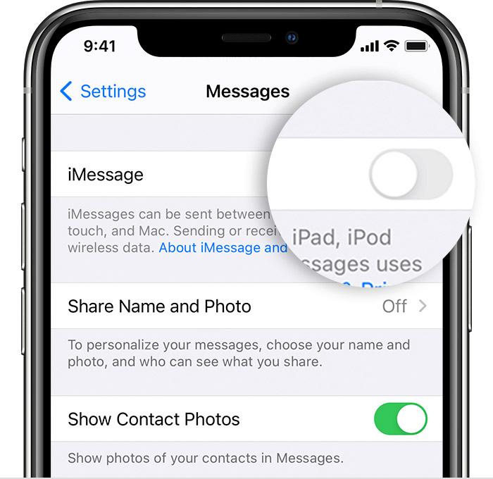 Turn off iMessage