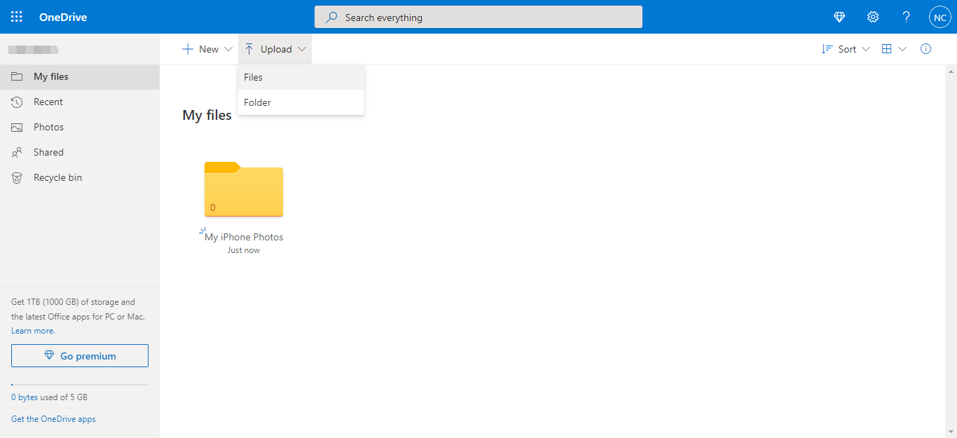 Upload OneDrive
