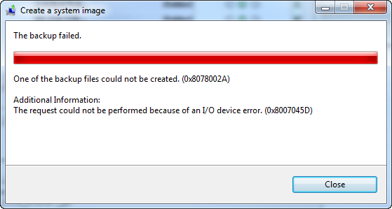 the request could not be performed because of an i o device errorI O Device Error 0x8007045d #2