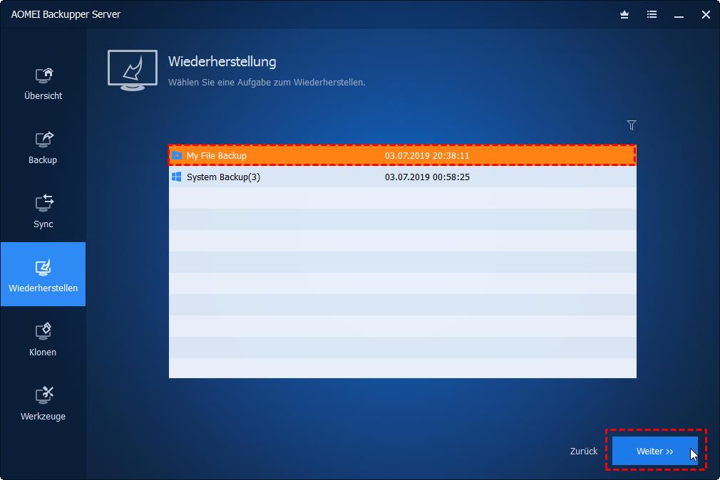 Selektive Dateien wiederherstellen
