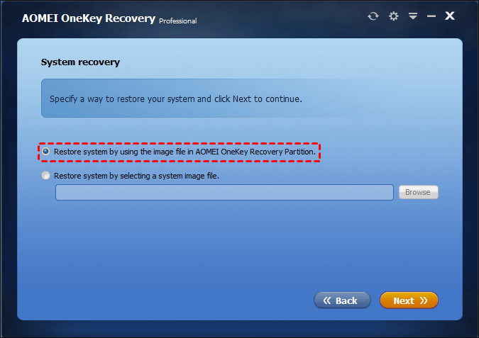 Recovery Partition wählen