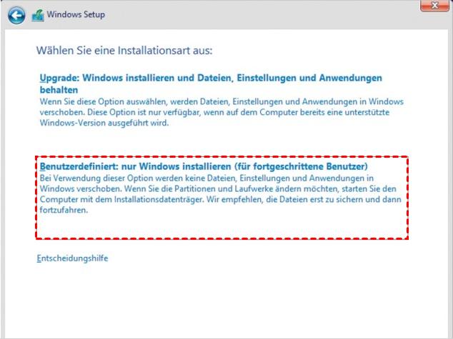 Nur Windows installieren