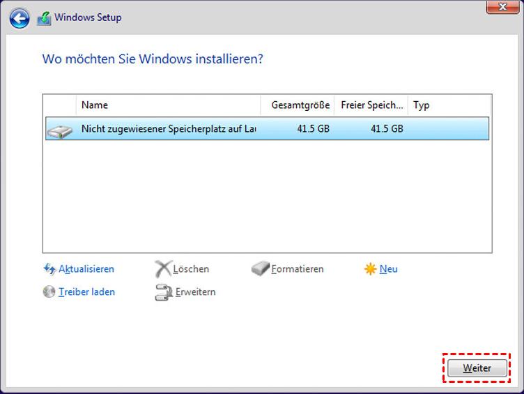 Wo möchten Sie Windows installieren?