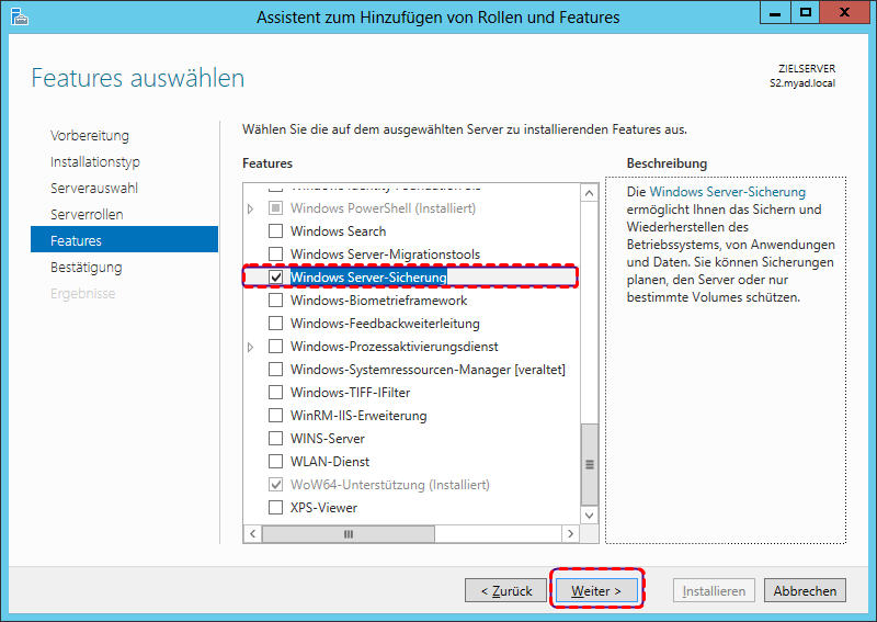 Windows Server Sicherung installieren
