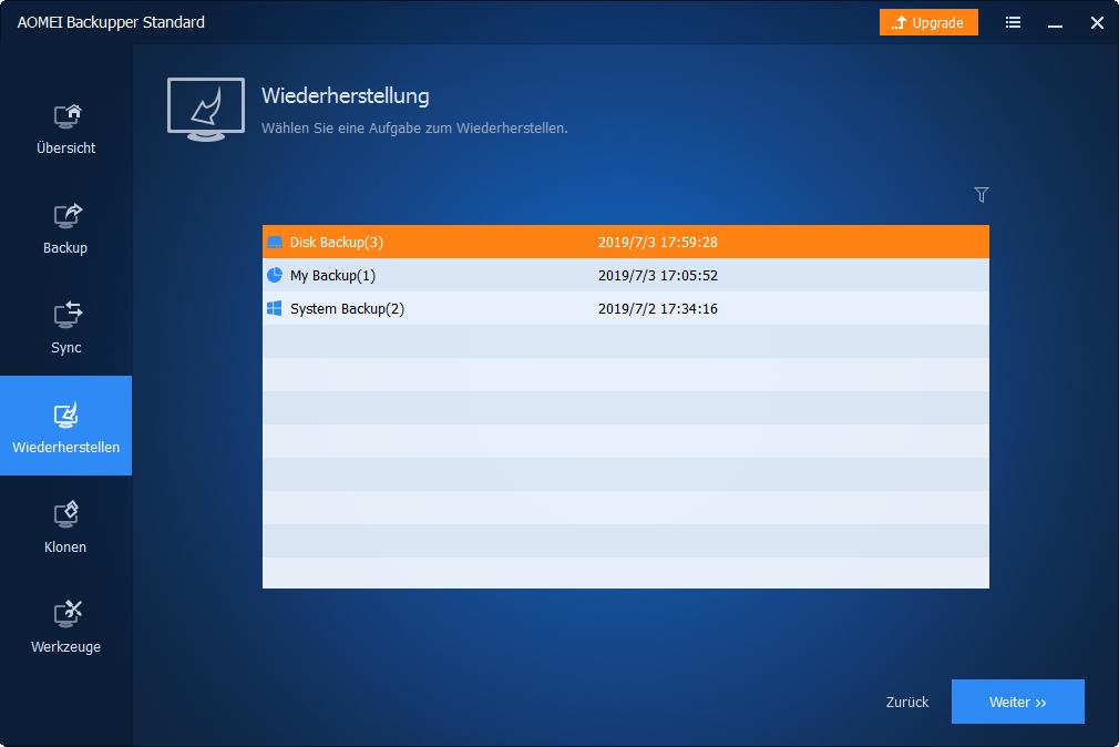 Disk-Backup wählen