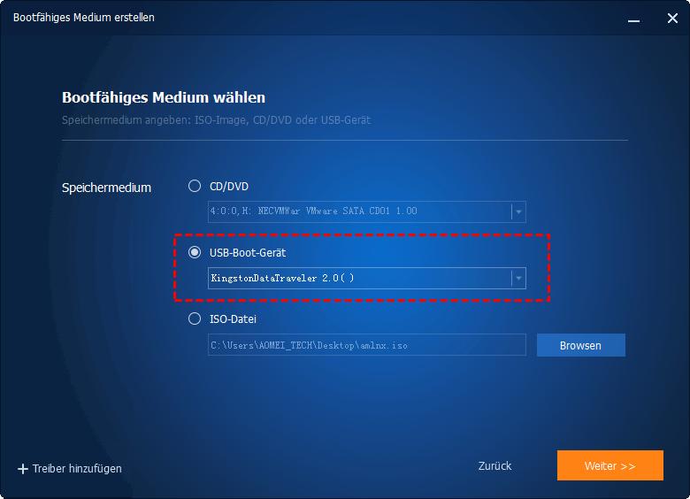 USB-Boot-Gerät wählen