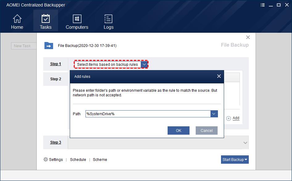 File Backup Add Rules