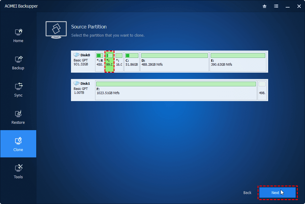 Choose System Reserved Partition
