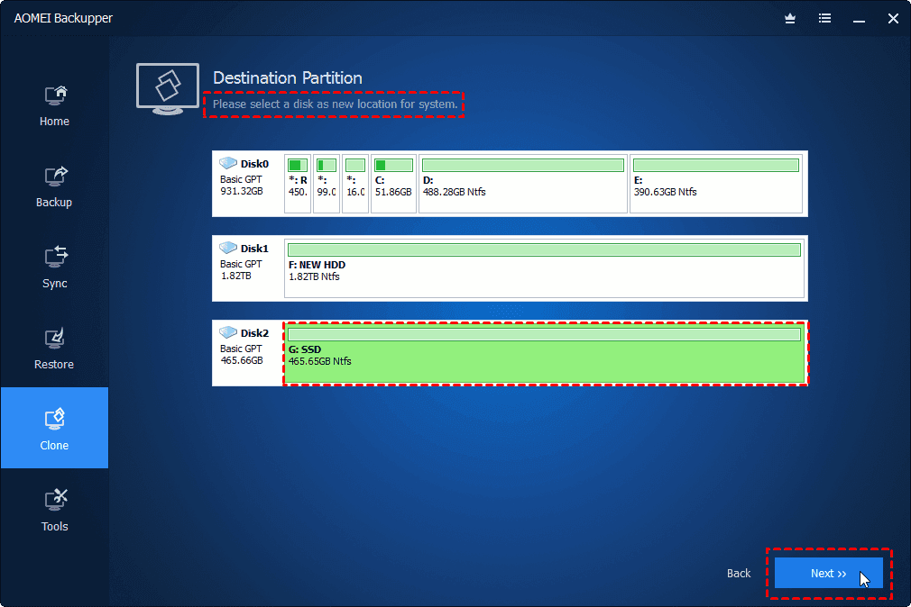 Choose Destination Partition