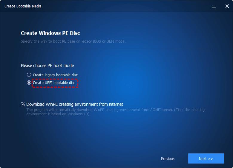 UEFI boot mode