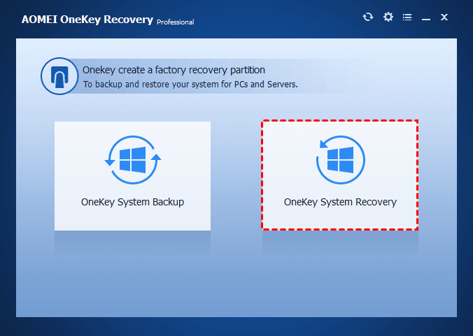 Select OneKey System Recovery
