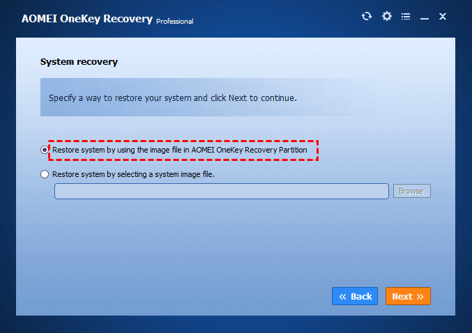 Restore from AOMEI OneKey Recovery partition