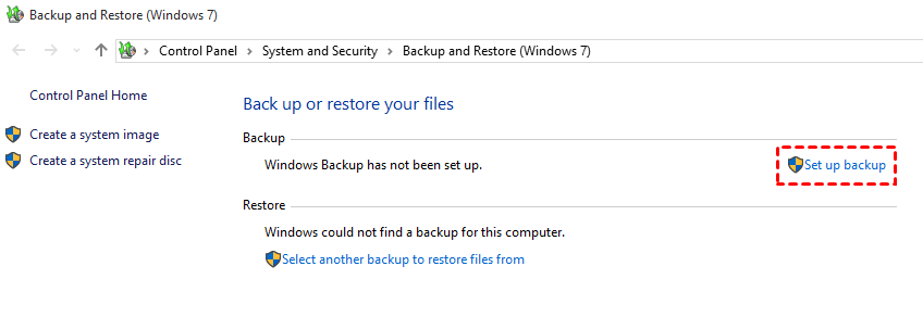 Set up backup