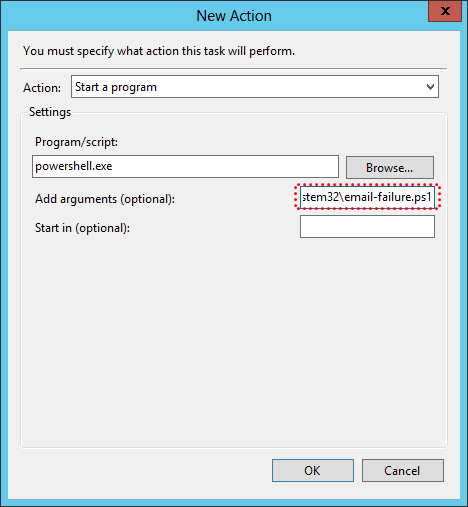 Create Email Notification Failure Task Action Settings