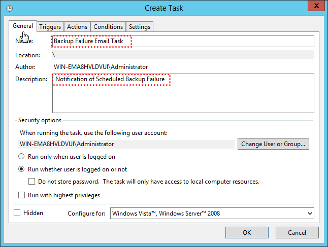 Create Email Notification Failure Task General Settings
