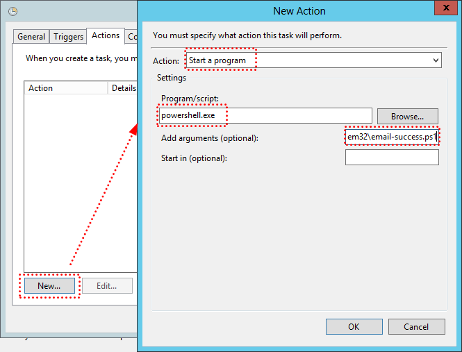 Create Email Notification Success Task Actions Settings