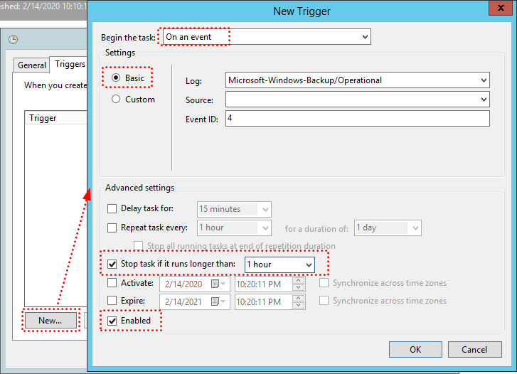 Create Email Notification Success Task Triggers Settings